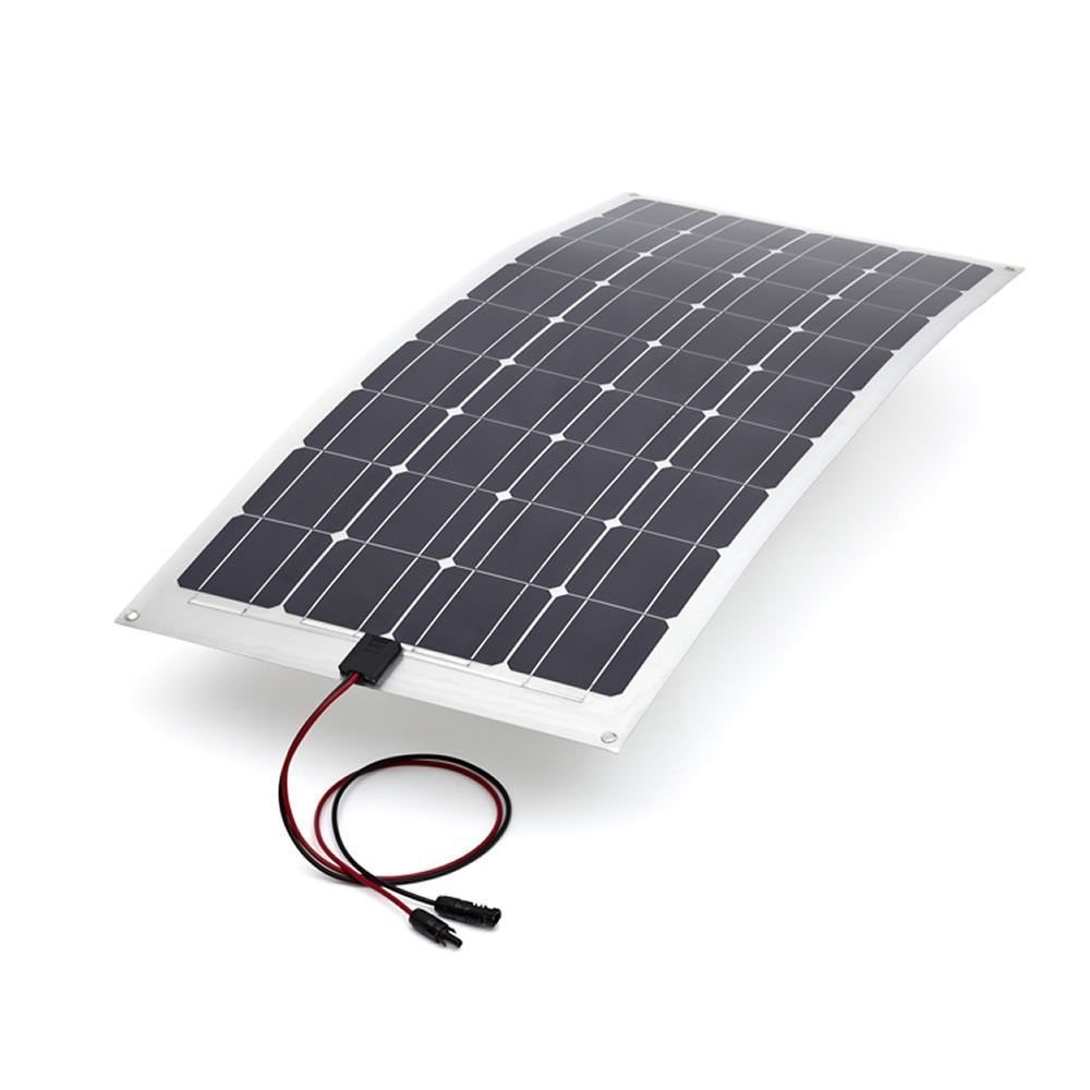 Biard 100W Watt Semi Flexible Solar Monocrystalline PV Panel - Ideal For 12V Battery Charging On Boats, Caravans, Motorhomes & RVs