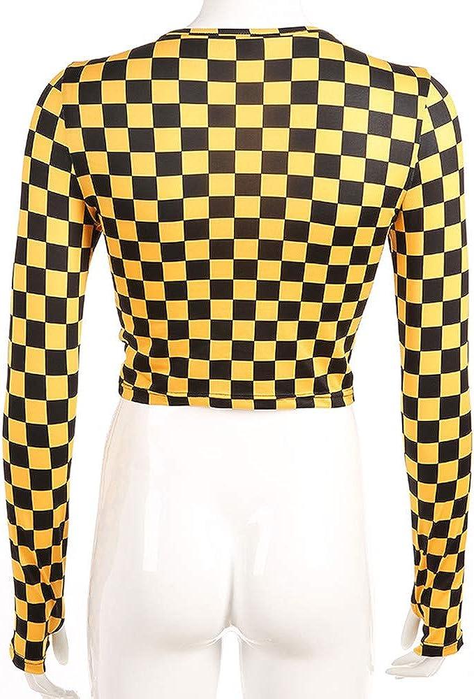 Camiseta de Manga Larga a Cuadros Amarilla Mujer Streetwear Crop Tops Tees Harajuku Plaid Tshirt Punk Casual tee Shirt: Amazon.es: Ropa y accesorios