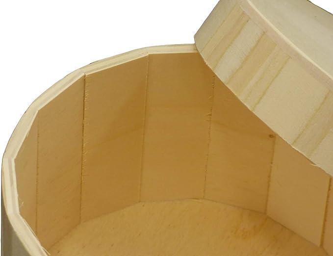 greca Caja de Madera con Forma Redonda. Tapa Suelta con pomo. En Crudo, para Decorar. Medidas (Ancho/Fondo/Alto): 20 * 11 cm. Disponible en 2 tamaños.: Amazon.es: Hogar