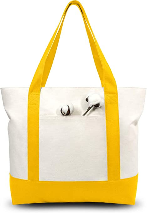 Top Zipper Closure Daily Essentials Blue//Natural TOPDesign Stylish Canvas Tote Bag with an External Pocket