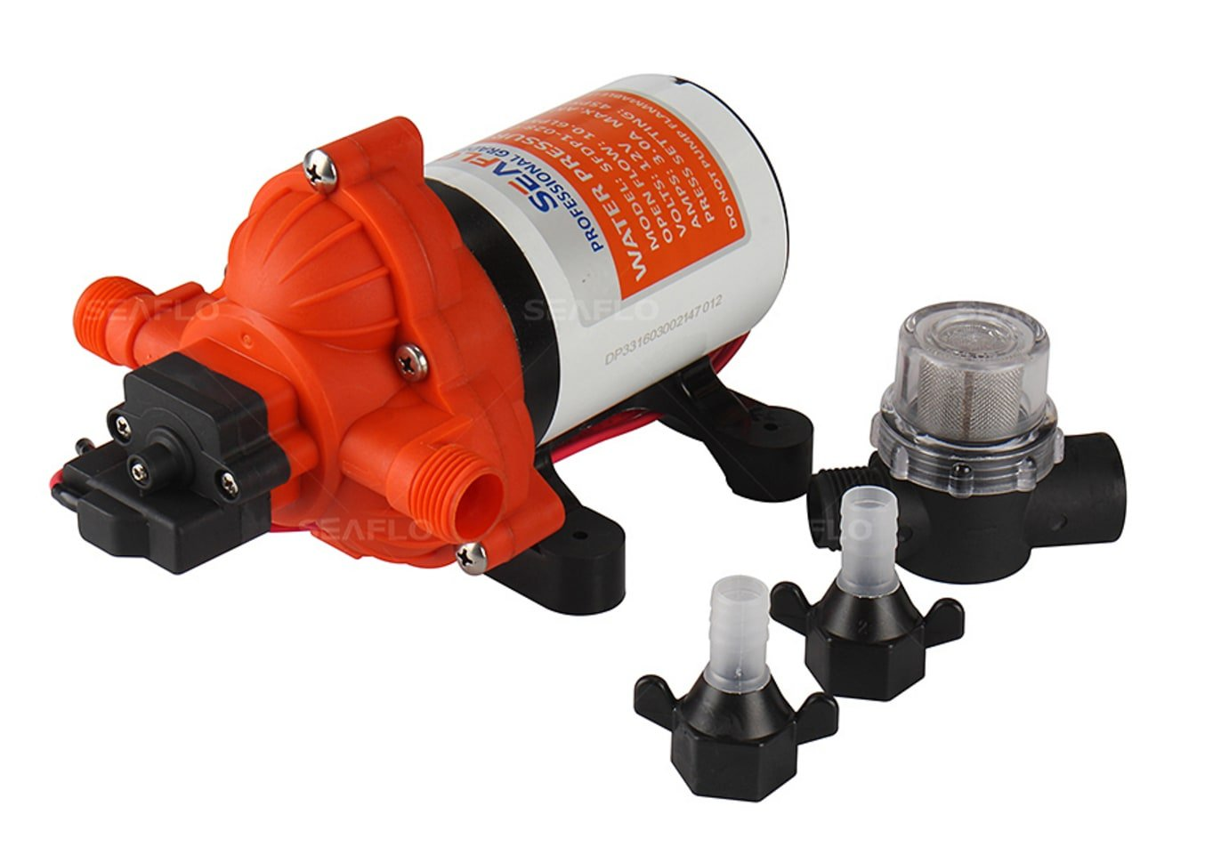 SEAFLO 33-Series Industrial Water Pressure Pump w/Power Plug for Wall Outlet - 115VAC, 3.3 GPM, 45 PSI by Seaflo (Image #2)