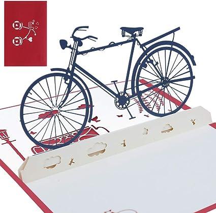 Pop Up 3D Geburtstagskarte Fahrrad-Karte mit Blumen