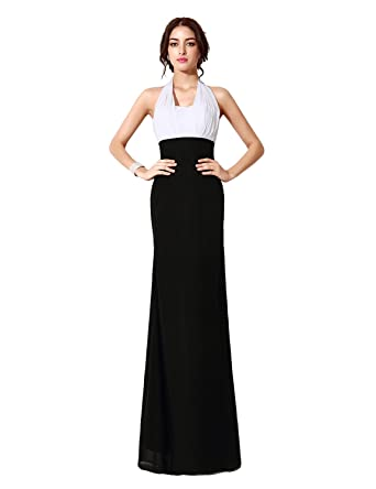 Clearbridal Womens Formal Long Black and White Halter Evening Dress Prom Gowns CSD242, White &