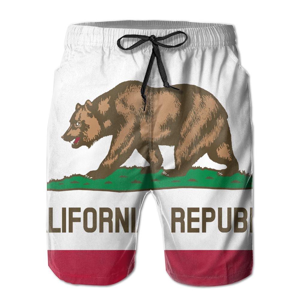 GYang Mens Beach Shorts California-Flag Summer Printed Swim Breathable Quick-Drying Shorts Swim Trunks Boardshorts