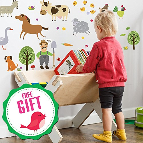 Farm Animal Barnyard Wall Decals for Kids - Farming Baby Room Children Stickers for Toddlers Bedroom [>40 Art playroom clings] + Free Bird ()