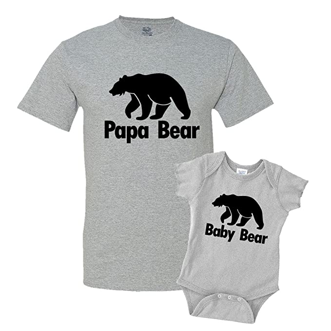 low priced 1c0a1 a77a8 Papa Bear & Baby Bear Dad and Me Matching Set T-Shirt Bodysuit Clothing