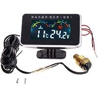 Medidor de temperatura del agua, medidor de voltímetro, medidor de temperatura para coche LCD 2 en 1, medidor de…