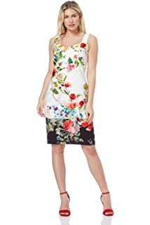 b227dc79015 Roman Originals Women Floral Print Sweetheart Scuba Dress - Ladies Fitted  Knee Length Daytime Evening Going…