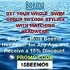 Hold'Em Beemo Women's Swim Bathing Cap Turban – Polyester Latex Lined Pleated for Women & Girls Long/Short Hair - Black