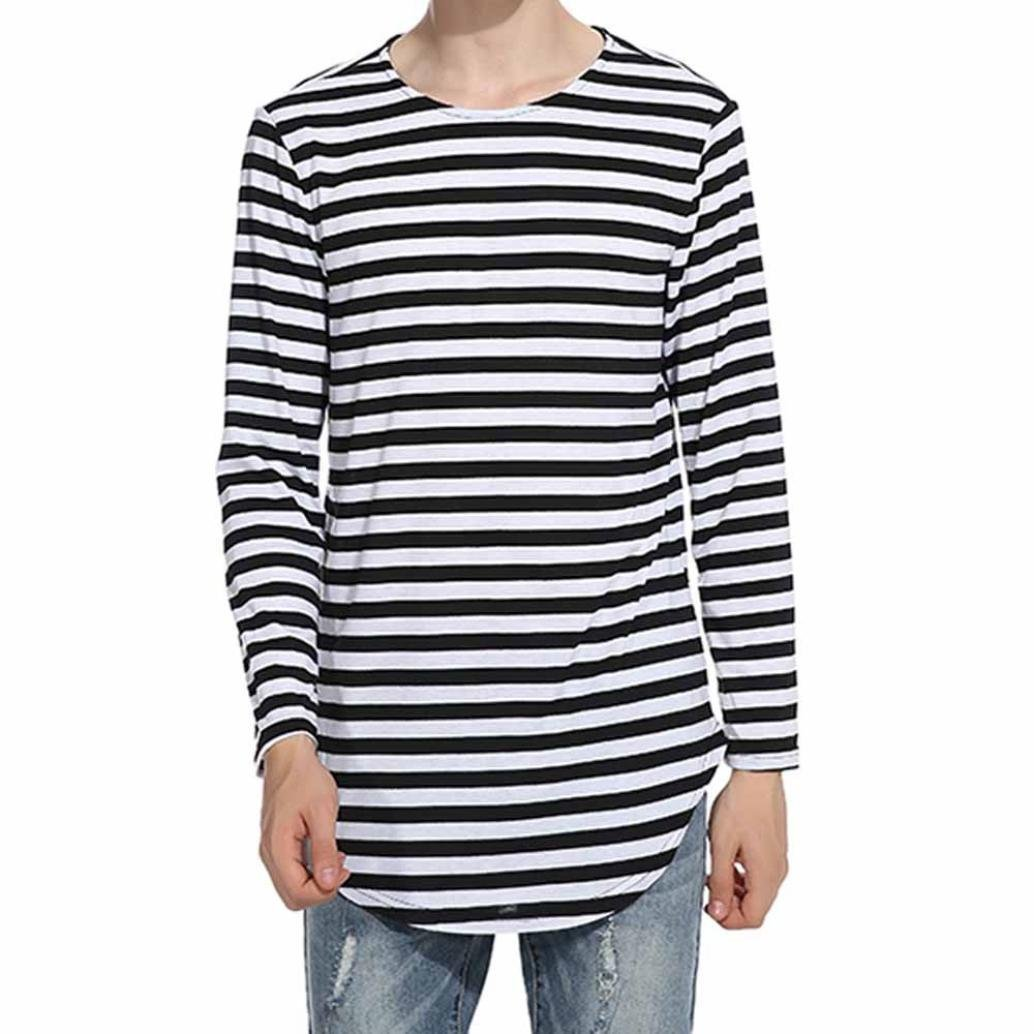 LIWEIKE Men t shirt extended longline hipster Tshirt with Striped Hem