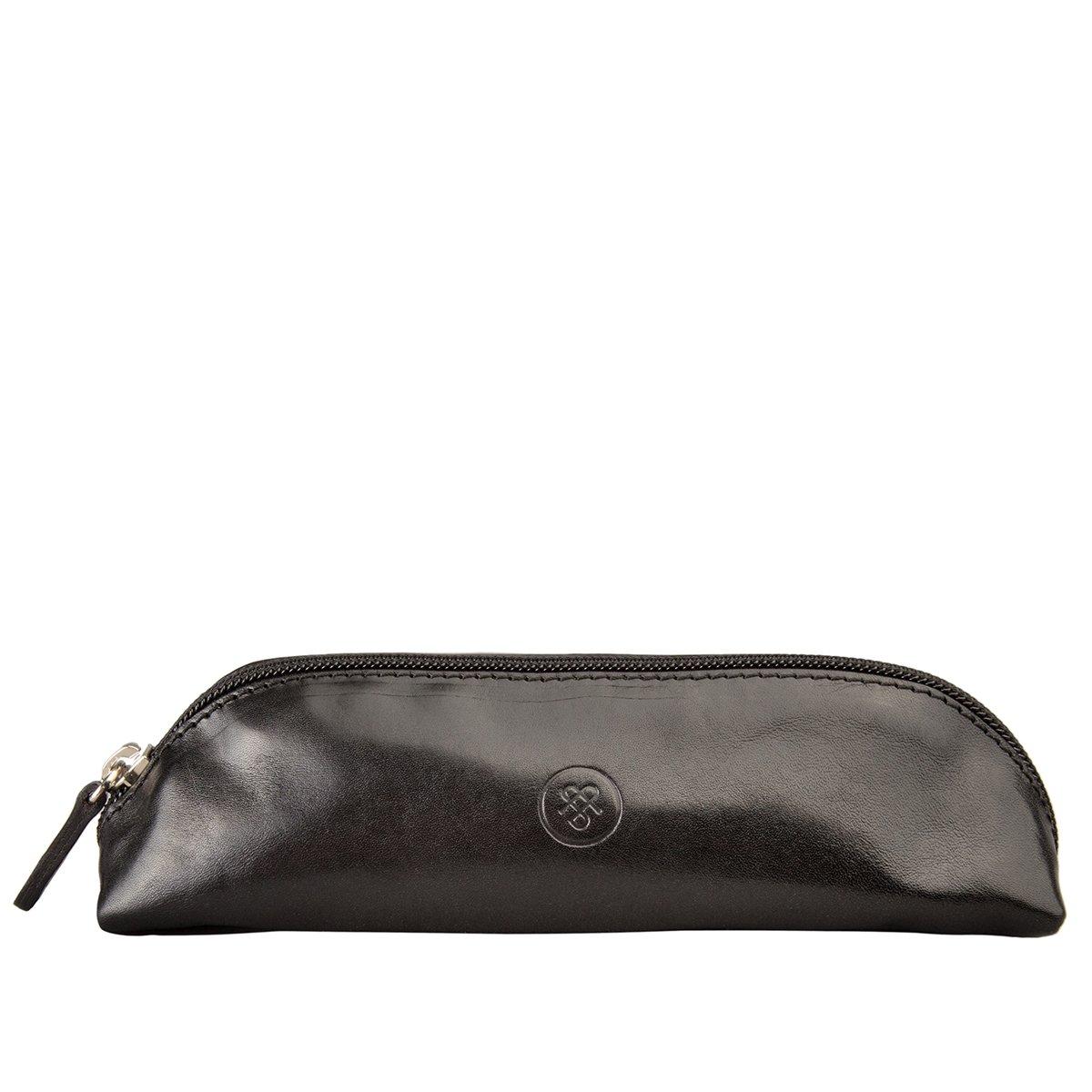Maxwell Scott Personalized Luxury Italian Black Leather Pen / Pencil Case (Felice) by Maxwell Scott Bags (Image #1)