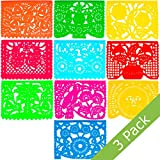Large Plastic Papel Picado Banner - 15 Feet Long - Two Designs to choose from (3 Pack, All Occasions)