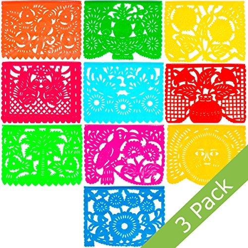 Large Plastic Papel Picado Banner - 15 Feet Long - Two Designs to choose from (3 Pack, All Occasions)]()