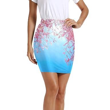 LUPINZ - Mini Falda elástica para Mujer, diseño de Flores, Color ...