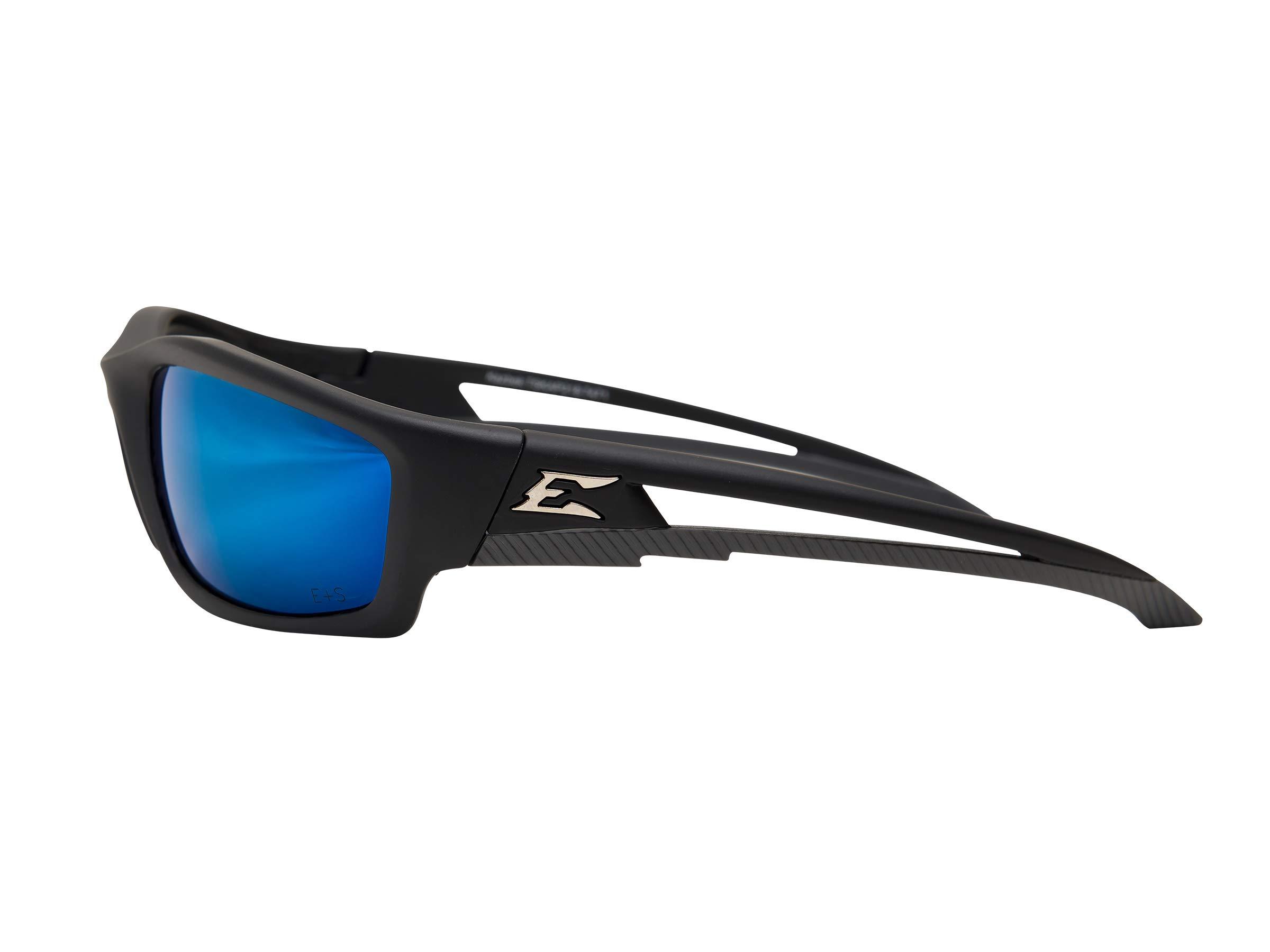 Edge Eyewear TSKAP218 Kazbek Polarized Safety Glasses, Black with Aqua Precision Blue Mirror Lens by Edge Eyewear