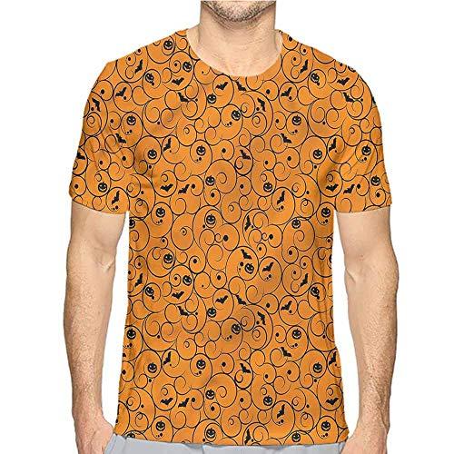 t Shirt for Men Halloween,Swirls Bats and Pumpkins Custom t Shirt XL]()
