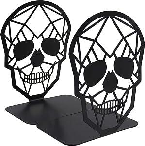 TENGZHEN Metal Bookend Black Book Ends, Heavy-Duty Bookends, Bookends for Shelves, Book Ends for Heavy Books,Black Skull Design Bookend,Book Shelf Holder Home Office Decorative Desktop Organizer