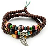 axy TWIC12-2 TIBET WICKELARMBAND SERIE 12! Armband+Halskette Bracelet Necklace!Holz Perlen Surferarmband Herren Damen Schmuck