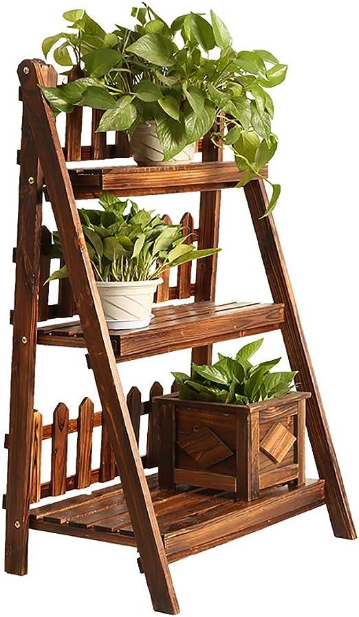 Estantes para plantas / estanteria jardin Soporte de flor de madera maciza plegable Soporte de exhibición de