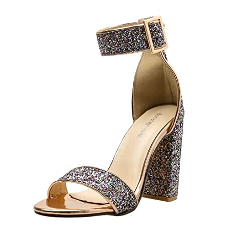 aa69a2cdc5524 Amazon.com : YEZIJIN Women Ladies Fashion High Heels Open Toe Ankle ...