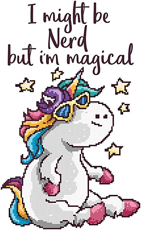 pixel art poster nerdy unicorn retro