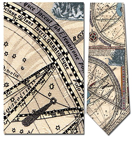 Men's 100% Silk Beige Nautical Map C. 1742 Necktie Tie Neckwear -