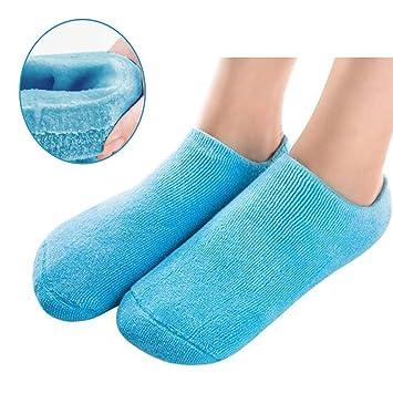 Pinkiou Calcetines hidratantes SPA Gel interno para suavizar y blanquear los pies de la piel agrietada (azul): Amazon.es: Belleza