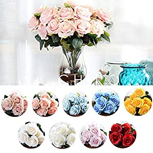 Artificial Flower Bouquet for Wedding 10 Heads French Rose Fake Flower Arrangement Floral Silk Flower for Home Party Table Decor 2