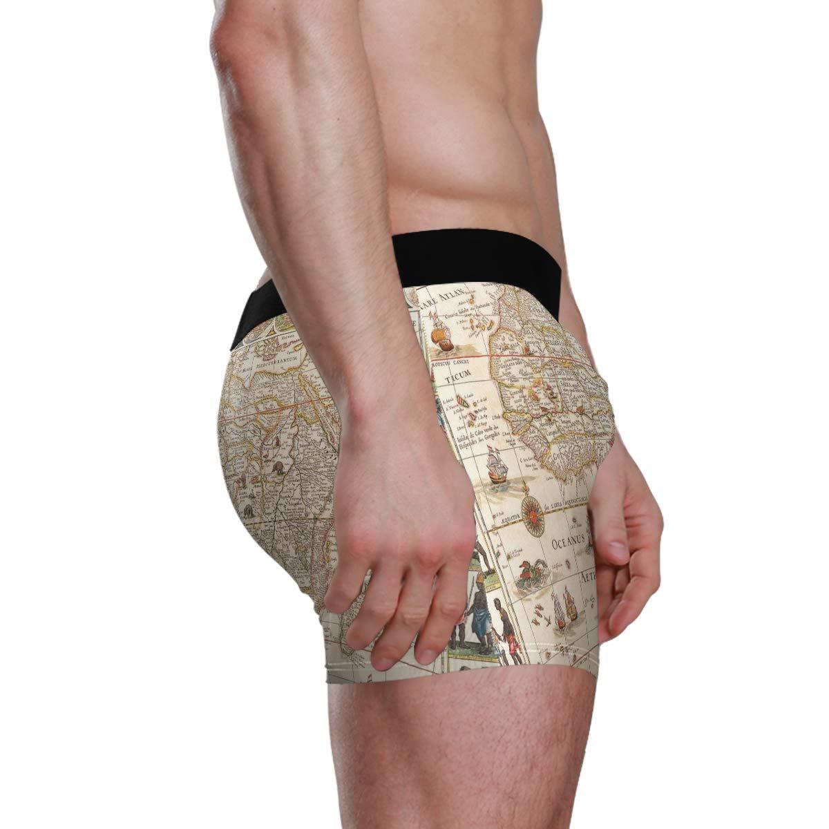 Vipsk Seamless Stretch Mens Polyester Boxer Briefs Underwear 1-Pack Set Retro World Map
