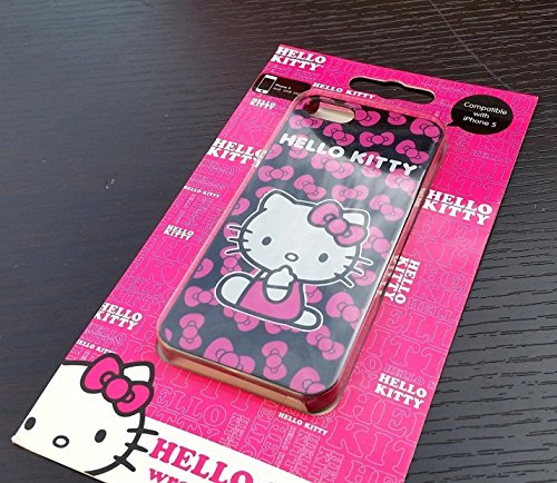 Kitty Apple Hello Sanrio (iPhone SE & iPhone 5/5S Case, MobileCentral [Sanrio Series] Hard Back Protective Skin Cover - Pink/Black Hello Kitty Polka Dots)