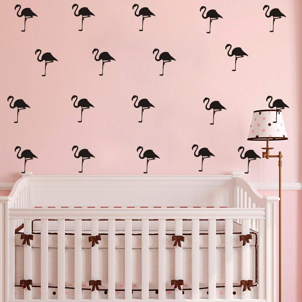 Black 32 Pieces Flamingo Wall Art Stickers Removable Decoration Stickers for Kids Room Nursery Wall Decal Girl Bedroom Vinyl Mural