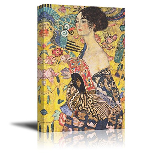 wall26 Canvas Wall Art - Lady with Fan by Gustav Klimt - Giclee Print Gallery Wrap Modern Home Decor Ready to Hang - 32x48 inches