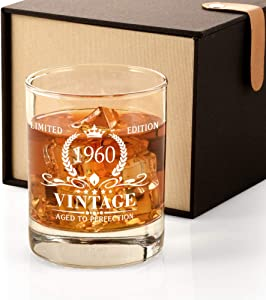 60th Birthday Gifts for Men, Vintage 1960 Whiskey Glass Funny 60 Birthday Gift for Dad, Son, Husband, Brother, 60th Anniversary Gift Ideas for Him, 60 Year Old Bday Decorations Party Favors