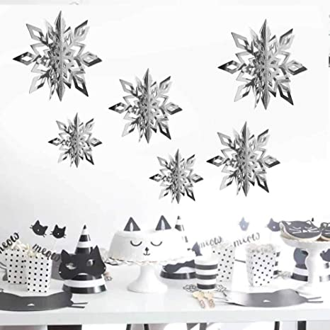 Pack of 6-20cm Snowflakes Christmas Winter Snowflake Party Decorations