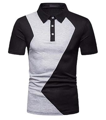 Camisa Polo de Manga Corta para Hombre con Botones de Bloqueo de ...