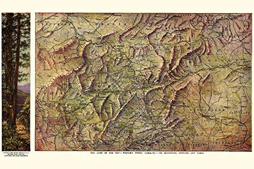 Western North Carolina - (1917) - Panoramic Map (16x24 Giclee Gallery Print, Wall Decor Travel Poster)