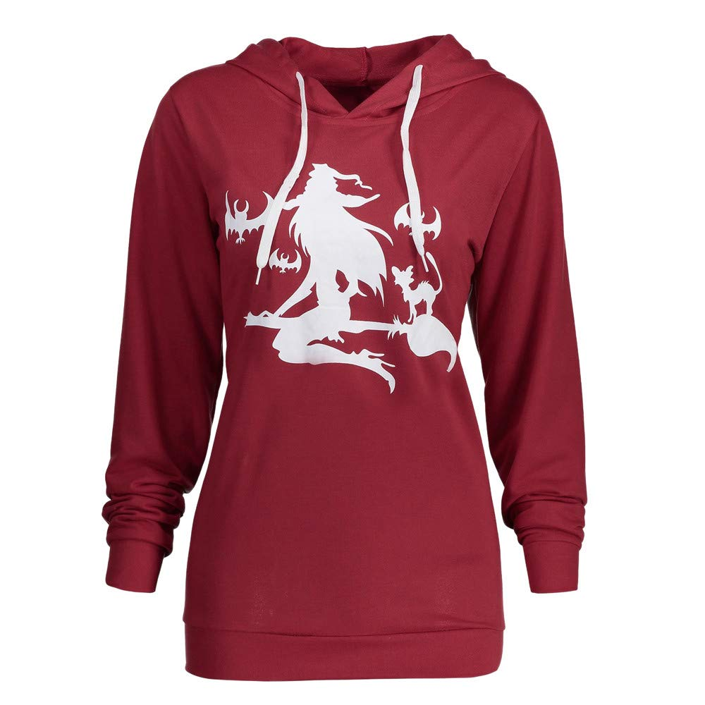 kaifongfu Lady Halloween Sweater Top with Witch Mop Flying Print Hoodie for Women (Wine Red,S)