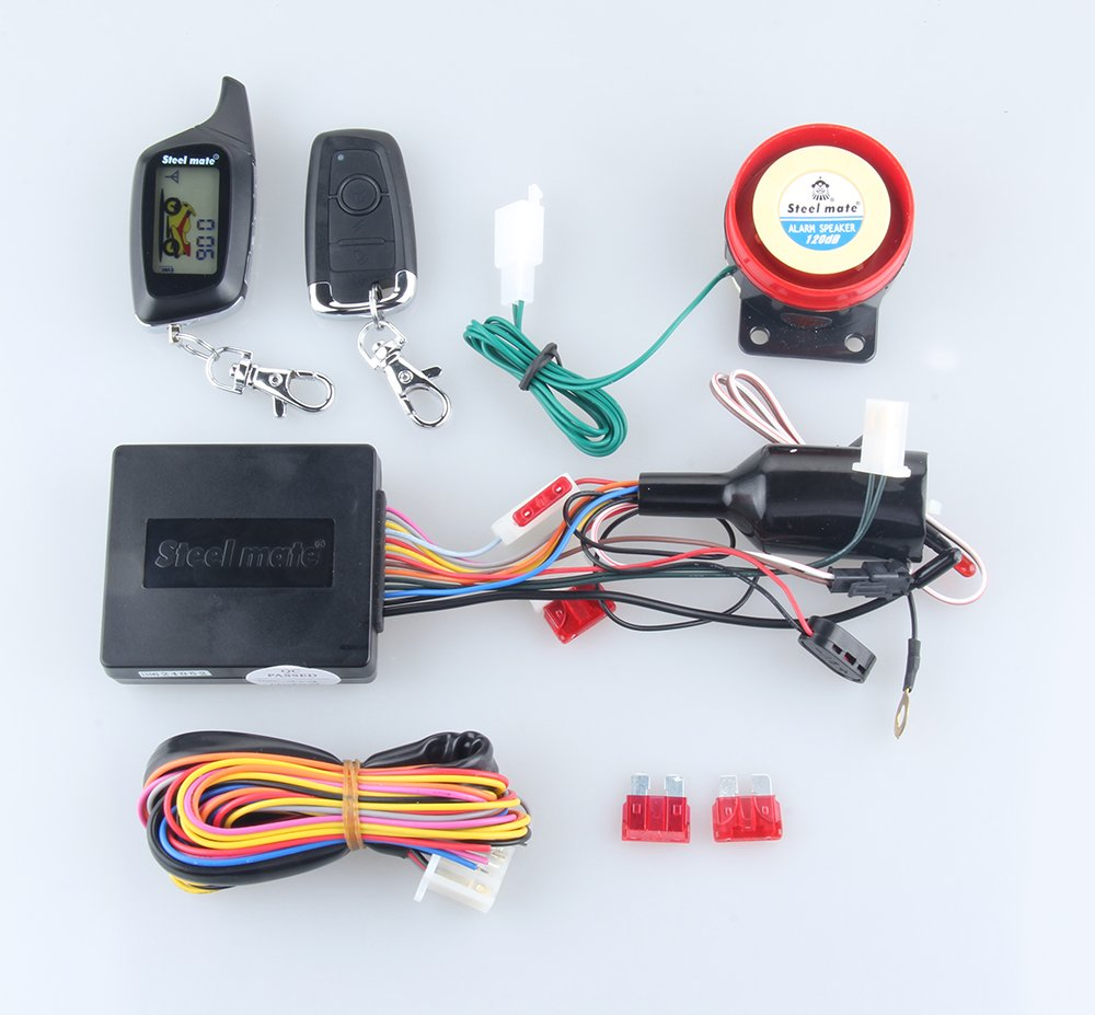986WO : Quality original Steelmate 2 Way LCD Motorcycle Alarm System W  Remote Engine Start Starter & keyless driving steel mate (986WO):  Amazon.in: Car & ...