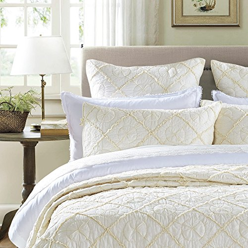 - Calla Angel Country Idyl Cotton Voile Quilted Pillow Sham, Standard, Ivory