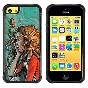 LASTONE PHONE CASE / Suave Silicona Caso Carcasa de Caucho Funda para Apple Iphone 5C / painting sketch mint red green redhead