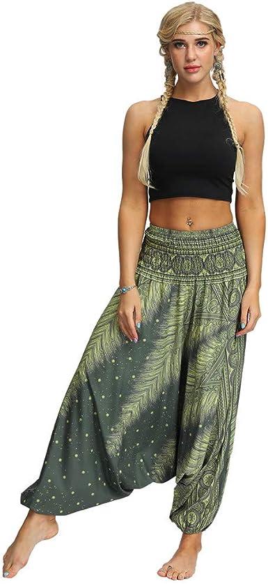 Sudady Pantalones De Hombre Y Mujer Para Yoga Arem Baggy Boho Pantalones De Pierna Ancha Pantalones Aladino Monos De Cinc Pelele Hippie Estilo Casual Pantalones Anchos Verde Talla Unica Amazon Es Ropa