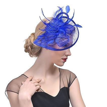 StageOnline Sombrero Tocado Pelo Elegante Pluma Clip Hat Boda Coctel Malla  Neto Velo Diadema para Mujer 63390ea24de2