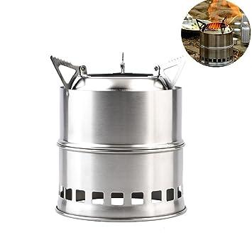 Buwico® Portátil inoxidable Camping estufa, ligero plegable madera Alcohol estufa de leña para cocinar al aire libre barbacoa camping mochila: Amazon.es: ...