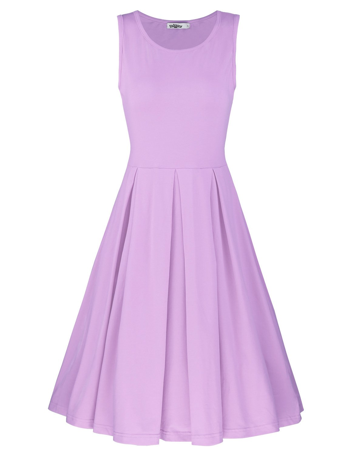 STYLEWORD Women's Sleeveless Casual Cotton Flare Dress(Lavender,L)