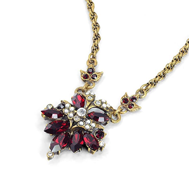 New 1940s Costume Jewelry: Necklaces, Earrings, Pins Garnet Necklace Red Necklace Wedding Necklace Wedding Jewelry Red Jewelry Garnet Jewelry 1940s Necklace $42.00 AT vintagedancer.com