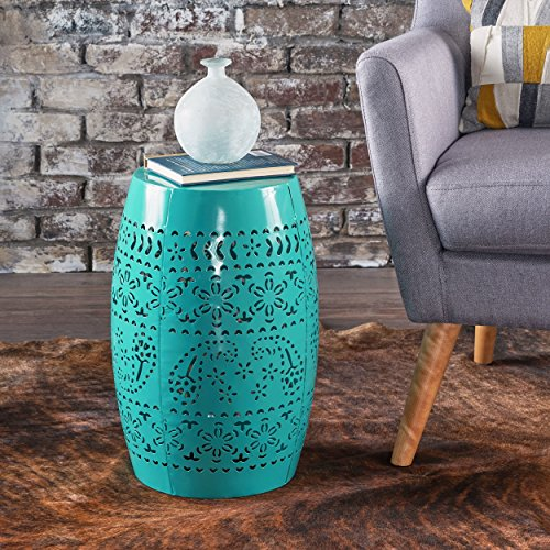 - Apple Valley Lace Cut Teal Iron Accent Table