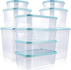 Fresh Friend 10 Pack Food Storage Containers with Blue Lids Airtight, Dishwasher Microwave Safe Plastic Lunch Containers BPA Free, Stackable Kitchen Freezer Containers, Gift