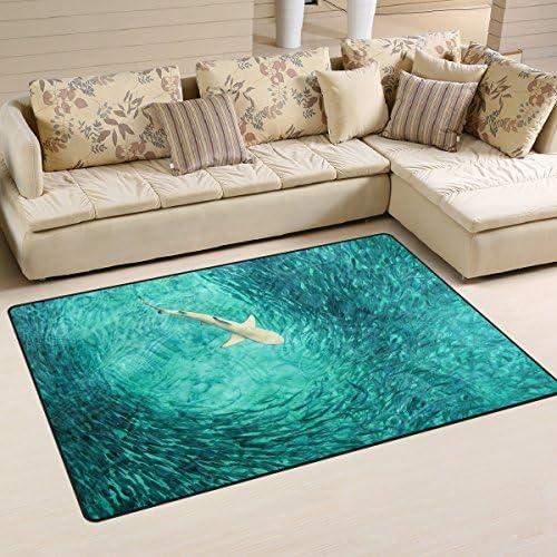 WOZO Blue Ocean Sea Shark Fish Area Rug Rugs Non-Slip Floor Mat Doormats Living Room Bedroom 60 x 39 inche