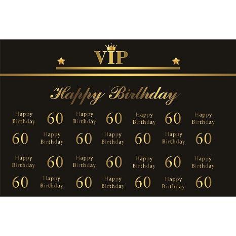 Cassisy 2,2x1,5m Vinilo Cumpleaños Telon de Fondo VIP 60 cumpleaños Feliz Bandera Corona Dorada Papel Pintado Negro Fondos para Fotografia Party ...