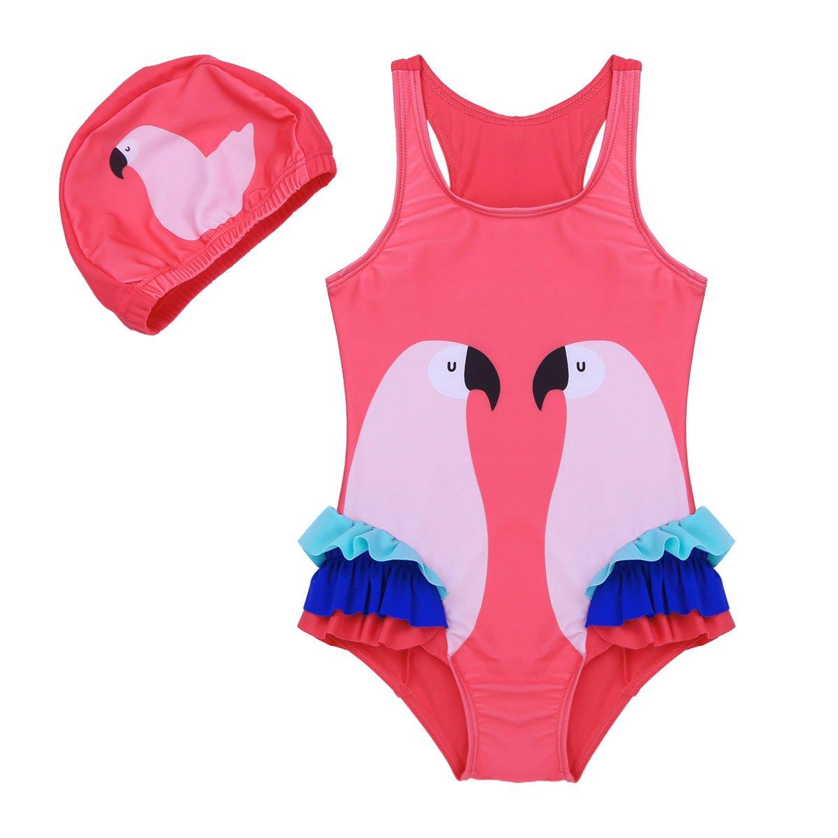 Freebily Little Infant Girls One-Piece Swan Swimsuit Ruffle Bathing Suit